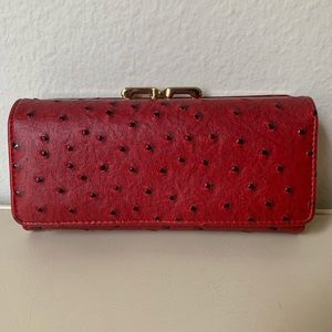 Red Ostrich Leather Synthetic Wallet Organizer